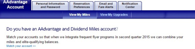 aadvantage combine option on myaccount page