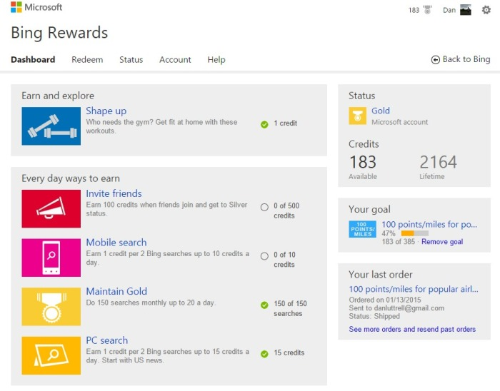 Bing Rewards   Dashboard