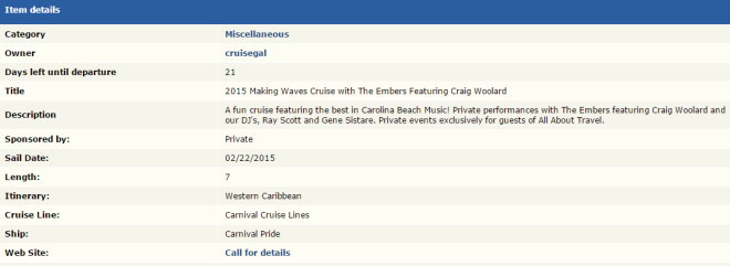 Theme Cruise Finder   2015 Making Waves Cruise with The Embers Featuring Craig Woolard