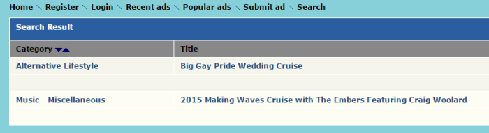 Theme Cruise Finder   Search Result