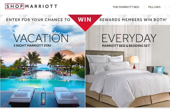 Win a 5 Night Hotel Stay  a Marriott Bed and Bedding Set  Marriott Pillows  and Other Marriott Hotel Prizes in the ShopMarriott Sweepstakes