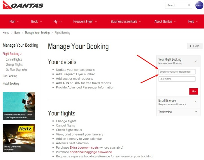 Manage your Qantas booking   Change flights   Check in   Select seats