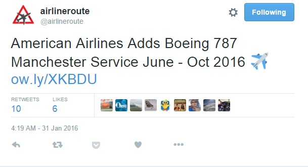 airlineroute on Twitter   American Airlines Adds Boeing 787 Manchester Service June   Oct 2016 ✈ https   t.co d9j8NWGHPP